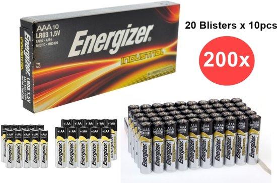 200 Stuks - Energizer Industrial LR03 AAA alkaline batterijen