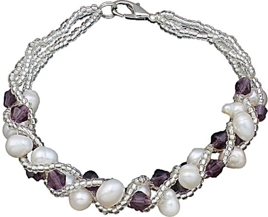 Zoetwater parel armband Pearl Crystal Purple