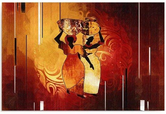 Schilderij - Afrika, Op weg naar de markt in rood en geel, 1 deel
