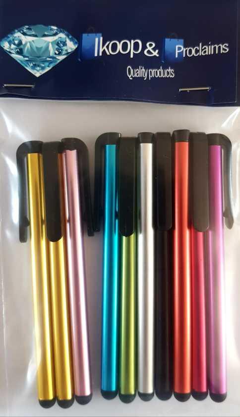 IKOOP & PROCLAIMS © 10 stylus pennen mix verschillende kleuren voor Tablet en Smartphone