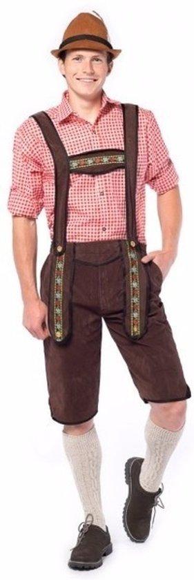 Oktoberfest - Voordelige donkerbruine lange lederhose voor heren 50 (M)