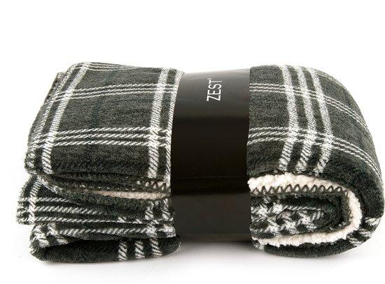 Zest fleece- Plaid - Fleece - 125 x 150 cm - Ruit grijs