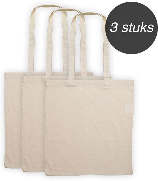 be9f7c44536 Katoenen draagtas - 3 stuks naturel canvas draagtasjes met lang hengsel -  Geschikt om te bedrukken