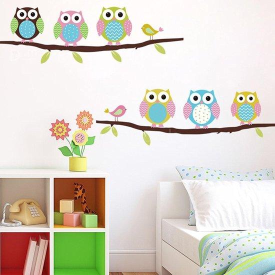 Decoratie Stickers Kinderkamer.Bol Com Muursticker Kleurrijke Uiltjes Op Tak Kinderkamer