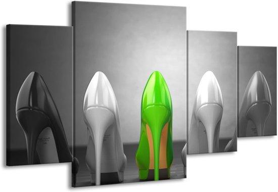 Schilderij | Canvas Schilderij Schoenen, Vrouw | Grijs, Groen, Zwart | 160x90cm 4Luik | Foto print op Canvas
