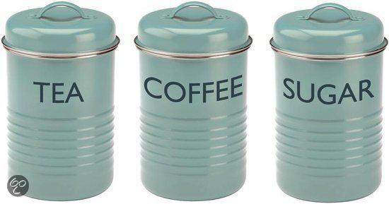 Typhoon Vintage Voorraadbus - Koffie, thee, suiker - Set  3 dlg - Blauw
