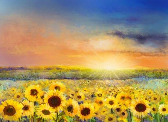 Papermoon Painting Sunflowers Vlies Fotobehang 400x260cm 8-Banen