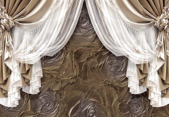 Fotobehang Brown Curtains | XXL - 312cm x 219cm | 130g/m2 Vlies