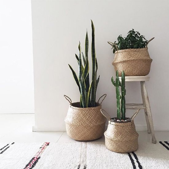 Rieten Manden Voor Planten.Bol Com Gevlochten Rieten Manden Inhoud 8 7l Naturel