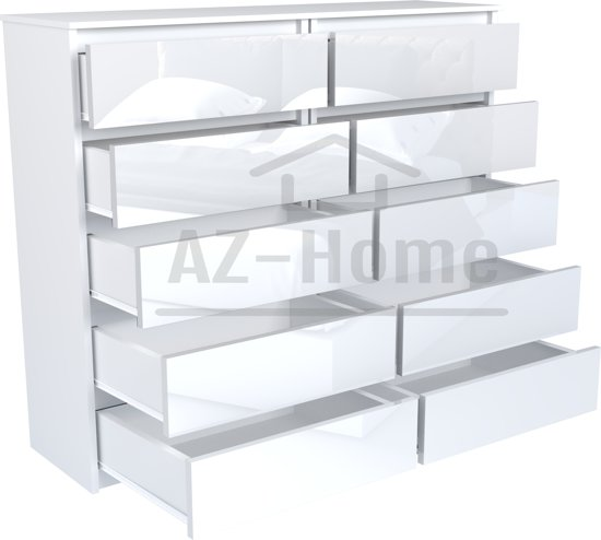 Az Home Ladekast Commode Kast Vegas 140 Cm Wit Hoogglans Wit 10 Lades