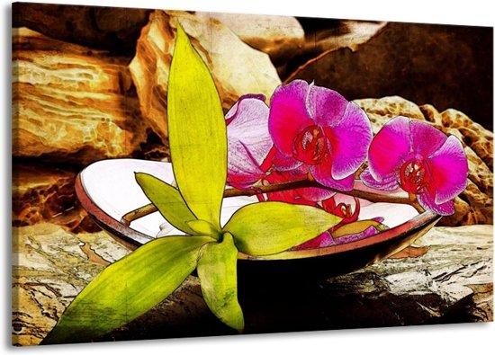 Canvas schilderij Orchidee   Paars, Groen, Bruin   140x90cm 1Luik