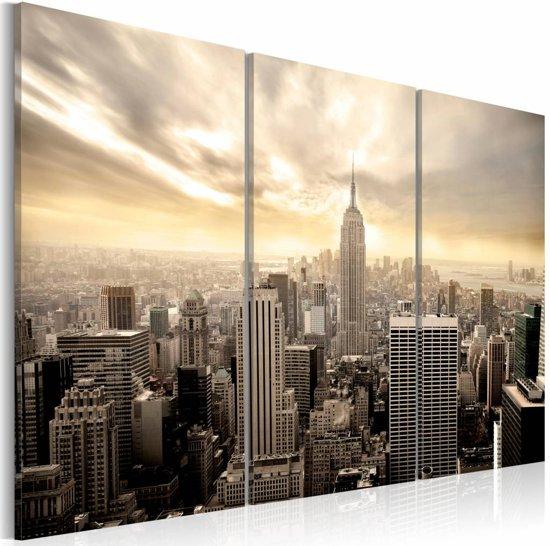Schilderij - 's Avonds in New York, Beige, 2 Maten, 3luik