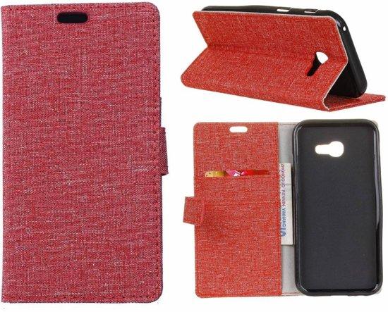 GSMWise - Samsung Galaxy Xcover 4 - Denim Desgin Linnen Textuur Lederen Portemonnee Cover met Kaarthouder - Rood in Magele
