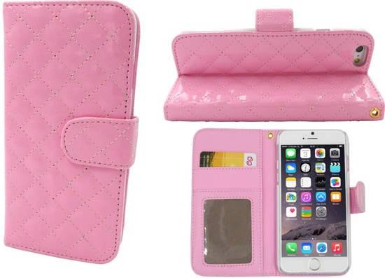iParts4u iPhone 6 en 6S Lederen Lak Wallet Bookcase Boek Hoesje Roze in Buitenpost / Bûtenpost