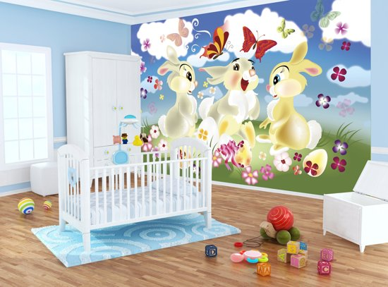 Babykamer Behang Konijn : Bol konijnen fotobehang l cm vliesbehang