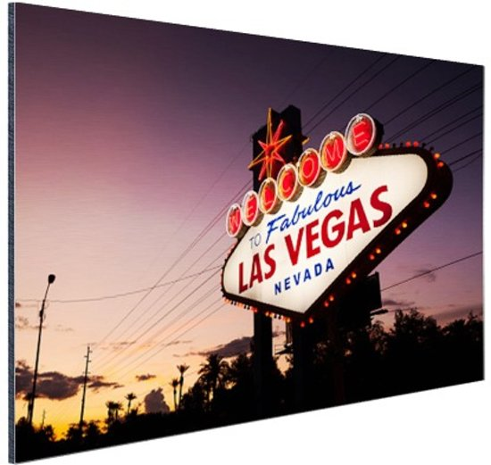 Verlicht Las Vegas welkomsbord Aluminium 60x40 cm - Foto print op Aluminium (metaal wanddecoratie)