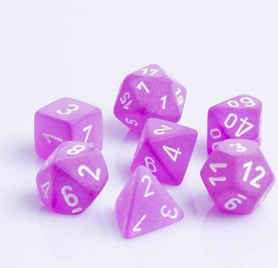 Afbeelding van het spel Polydice 7 Dobbelstenenset Frosted Purple White