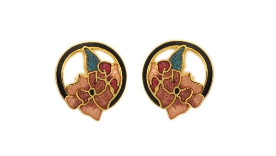 Behave® Dames Oorbel knop rond met bloem goud-kleur en emaille