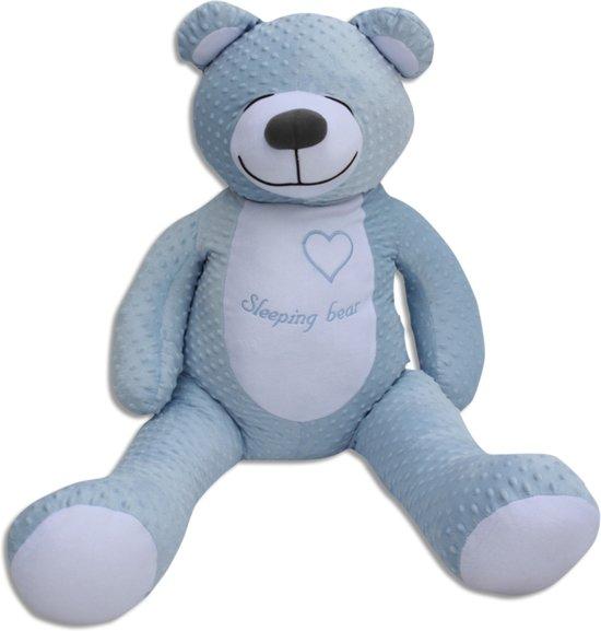 Grote teddebeer / knuffelbeer 130cm - slaapknuffel babykamer - Hemelsblauw