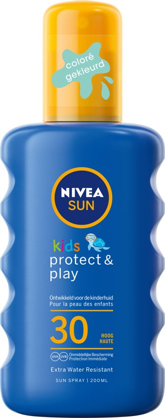 NIVEA SUN Kids Zonnebrand - Hydraterende Groen Gekleurde Zonnespray - SPF 30 - 200 ml