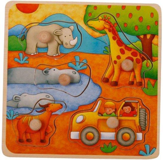 Mama Memo Vormenpuzzel Safari Hout 5 Stukken 16,5 X 16,5 Cm