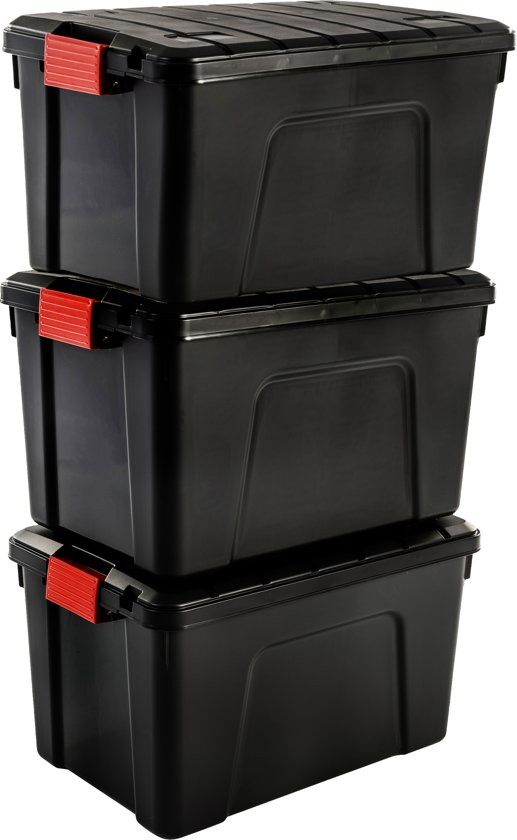 IRIS Store It All Opbergbox - 60 l - Kunststof - Zwart/Rood - 2 stuks