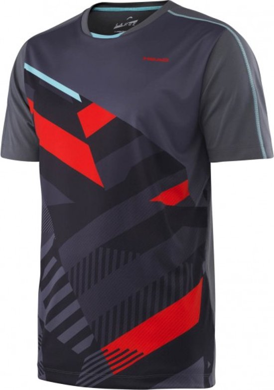 dc705c9fa26 bol.com | Head - Vision Cay Heren Tennis shirt (zwart/rood) - S