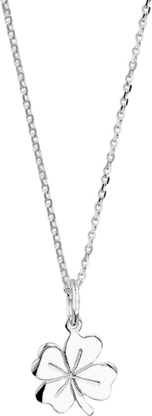 The Jewelry Collection Ketting Klaver - Dames - Zilver - 45 cm