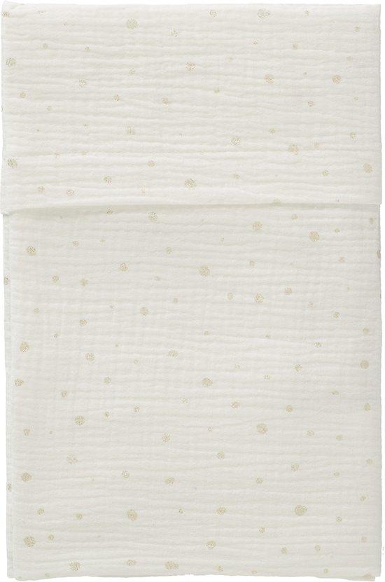 Cottonbaby Ledikantlaken Cottonsoft wit stip goud