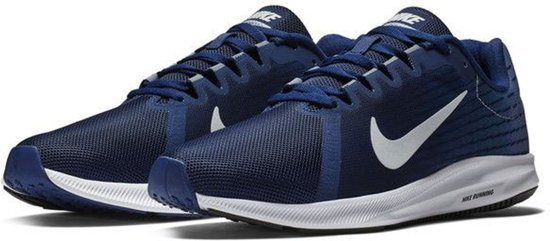 Nike Downshifter 8 Hardloopschoenen Heren Sportschoenen Maat 44 Mannen blauwwit