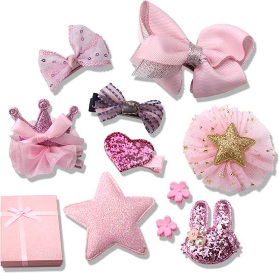Superleuke roze box met 10 stuks roze handgemaakte haarclips - Leuk als cadeau of giftbox - Voor kinderen en volwassenen - Haarspeld Haarsieraad Haar Accessoires voor Dames en Meisjes