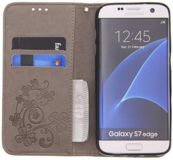 Fleurs De Trèfle Gris Couverture Booktype Pour Samsung Galaxy S7 C6GSl