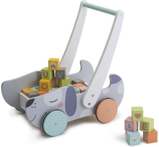 Houten Loopwagen  met blokken alfabet en cijfers-blokkenkar hout