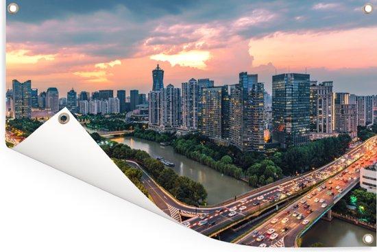 Zeer unieke lucht boven Hangzhou Tuinposter 90x60 cm - Tuindoek / Buitencanvas / Schilderijen voor buiten (tuin decoratie)