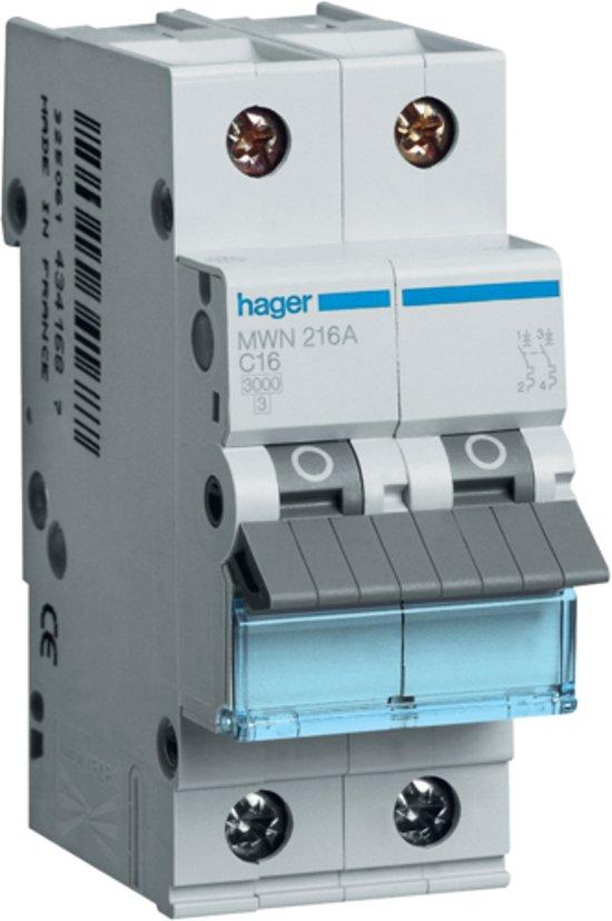 Hager automaat 2 polig 16A - 3kA/C
