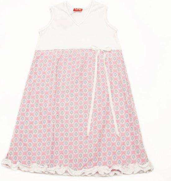 66a300f668529b Zomerjurkje Ninie Julia mouwloos roze wit bloem-110-116