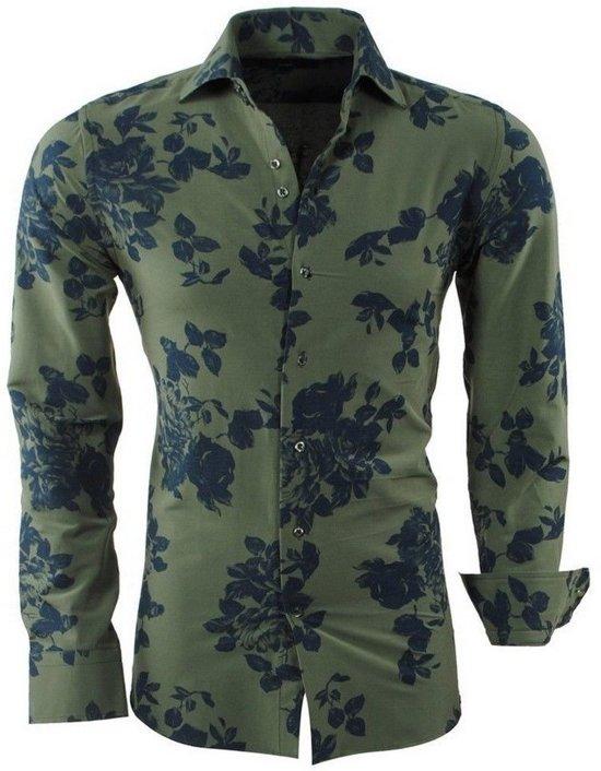 Fit Heren Slim Overhemd Montazinni Bloemen Groen zBwqx