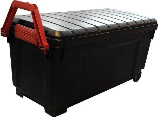 IRIS Powerbox Opbergbox - 170L - Kunststof - Zwart/Rood - Met Wielen