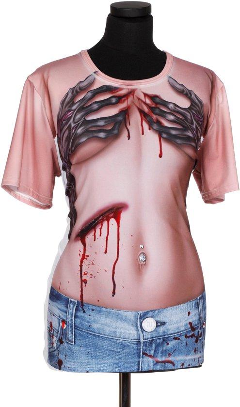 Shirt met print zombie hands voor dame one size (M)