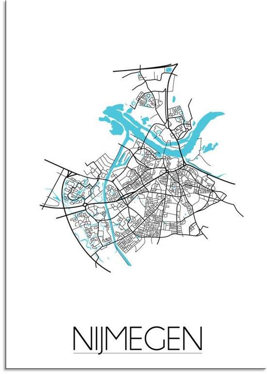 Plattegrond Nijmegen Stadskaart poster DesignClaud - Wit - B2 poster