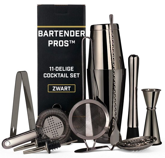 Cocktail Set van Bartender Pros™ - 11-Delige Luxe Cocktailbox - RVS - Professionele Cocktailset -  Inclusief Lepel & Accessoires - Cocktailshaker - Mixer - Zwart