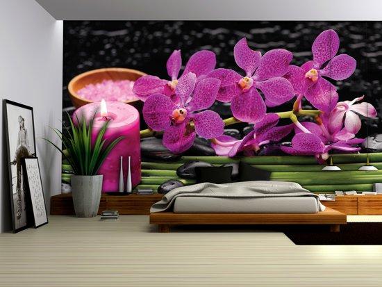 Fotobehang Papier Bloemen, Orchidee   Paars   254x184cm