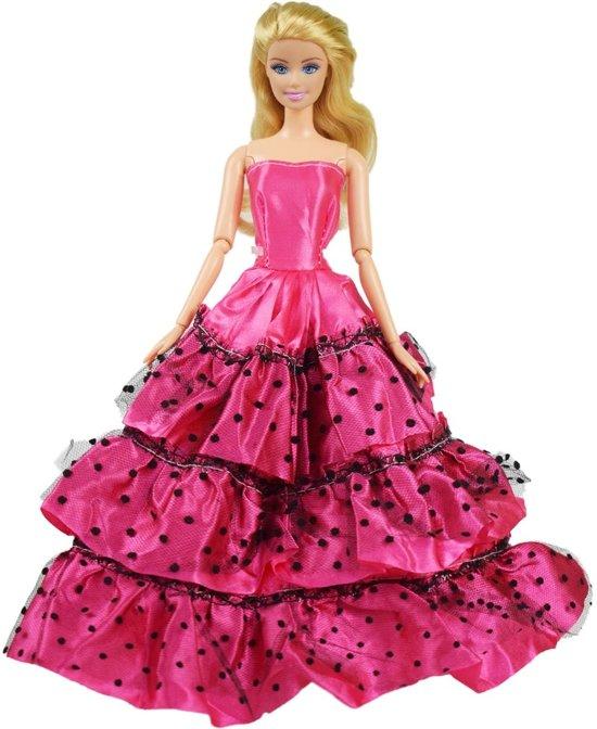 1e227afb92ea8f Lange roze jurk voor barbie - Roze prinsessenjurk met polkadots