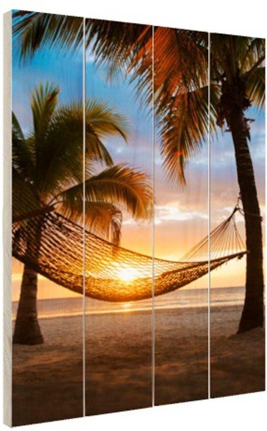 Hangmat op het Caribische strand Hout 40x60 cm - Foto print op Hout (Wanddecoratie)