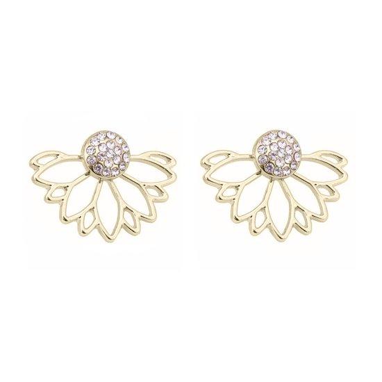 Victoria - Goudkleurige Oorbellen - Zirkonia Kristallen - Nieuw Design