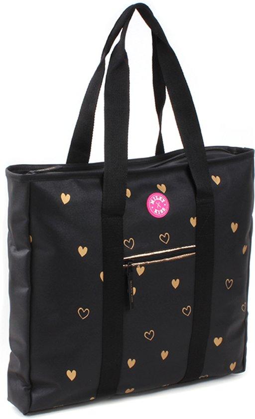 Milky Kiss Golden Hearts Shopper - Zwart