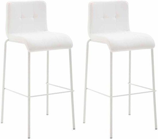 Clp Kado - Set van 2 barkrukken - kunstleer - ronde benen - Wit Wit