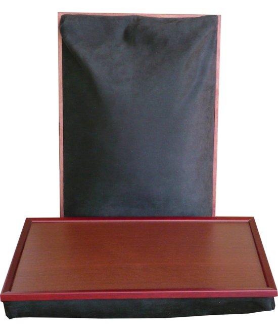 Margot Steel XL Laptray/Schoottafel Zwart suede - extra groot 53x38 cm