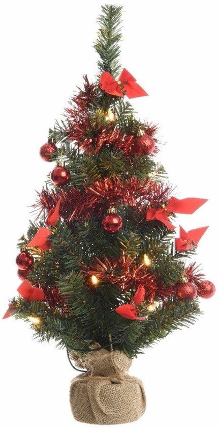 bol.com | Kerstboompje groen/rood met verlichting 60 cm