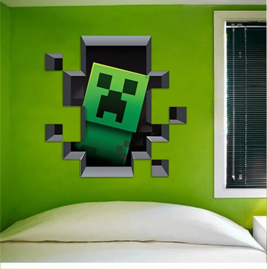 Minecraft 3d creeper muursticker for Minecraft kinderzimmer